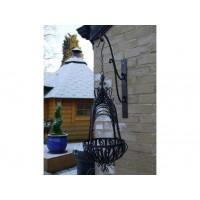 Black Distressed Wrought Iron Garden Hanging Basket