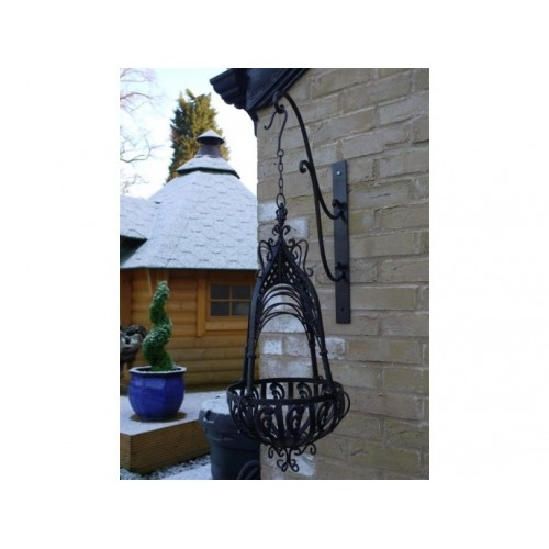 Black Distressed Wrought Iron Garden Hanging Basket