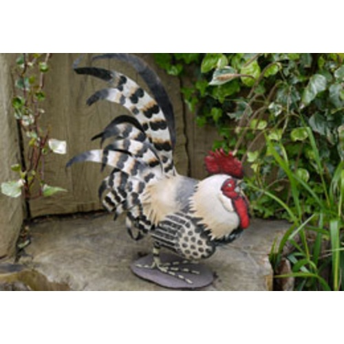Charming Cockerel Sitting Metal Garden Ornament