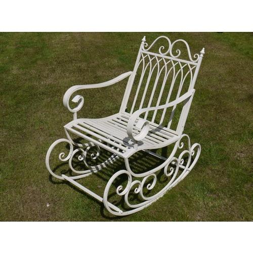White Vintage Distressed Metal Rocking Chair
