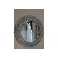 White Round French Shabby Chic Style Wall Mirror