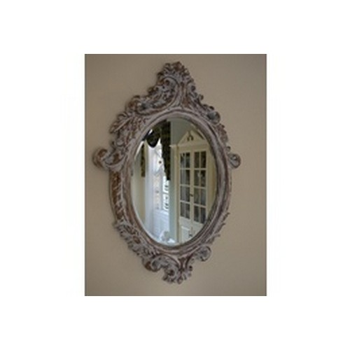 Distressed Carved Oval Wall Mirror Bevelled Glass