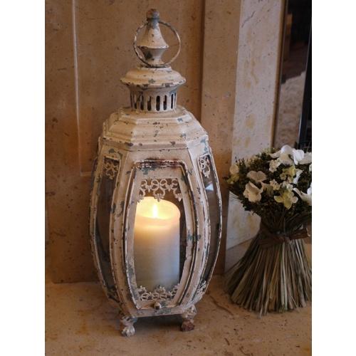 Cream Shabby Chic Wrought Iron Patio Candle Lantern