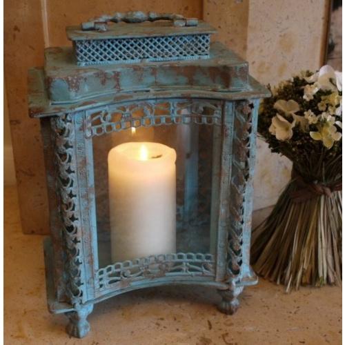 Blue French Vintage Metal Candle Holder Lantern
