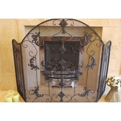 Black Antique Ornate Traditional Fire Spark Screen Guard