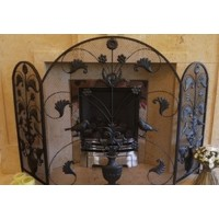 Black Wrought Iron Arched Birds & Leaves Fire Screen Guard
