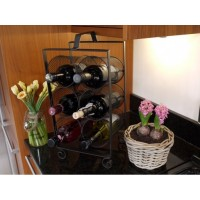 Six Slot Metal Wine Rack With Carry Handle