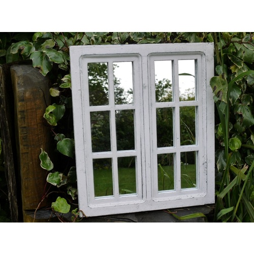 White Wooden Square Distressed Window Pane Mirror