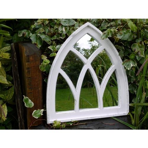 White Antique Distressed Wooden Arch Garden Mirror