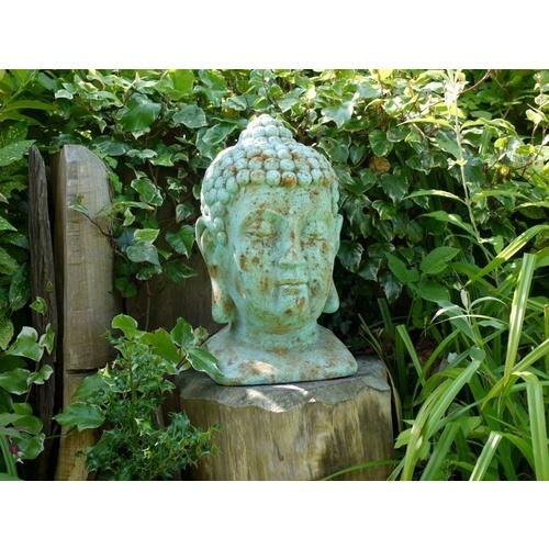 Large Blue Buddha Head Bust Garden Ornament Statue