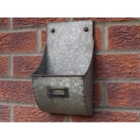 Grey Galvanised Retro Design Wall Mounted Storage