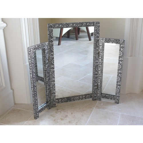 Silver Embossed Triple Tri-Fold Dressing Table Mirror