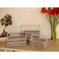 Set Of Three Wooden Shabby Chic Storage Crates/Boxes