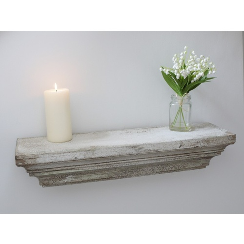 White Distressed  Shabby Chic Wall Floating Shelf