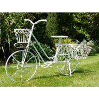 White Lottie Garden Bicycle Shabby Chic Planter