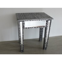 Silver Embossed Mirrored Lamp Table or Occasional Table