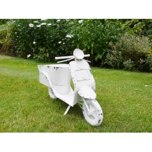 Cream Outdoor Garden Shabby Chic Scooter Planter