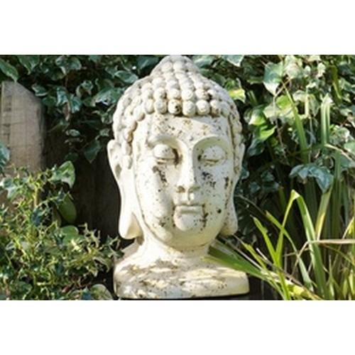 Large White Buddha Head Bust Garden Ornament Statue