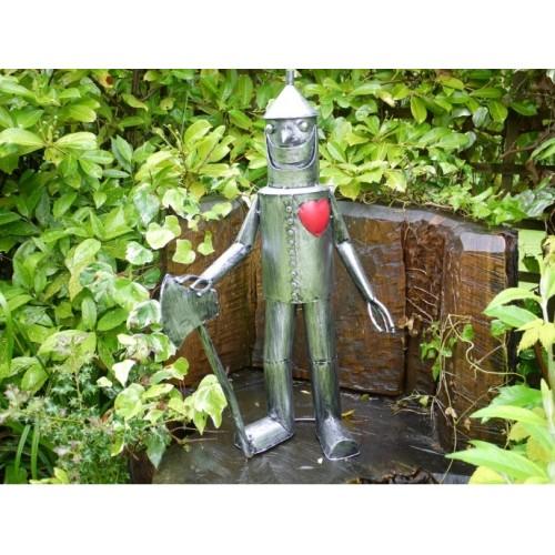 Medium Silver Tin Man Outdoor Garden Statue 79cm