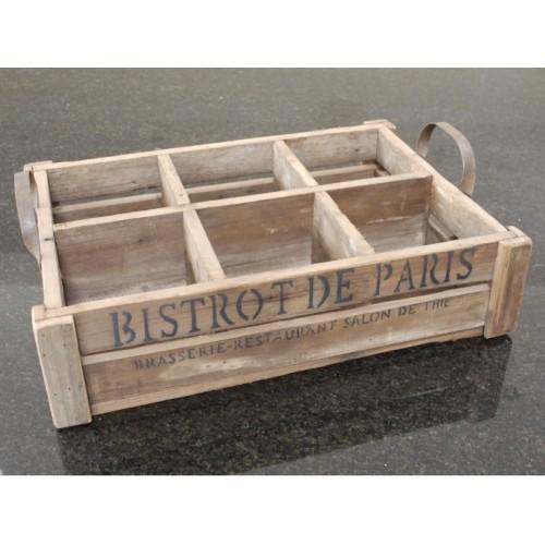 Bistrot De Paris 6 Slot Wooden Crate Box