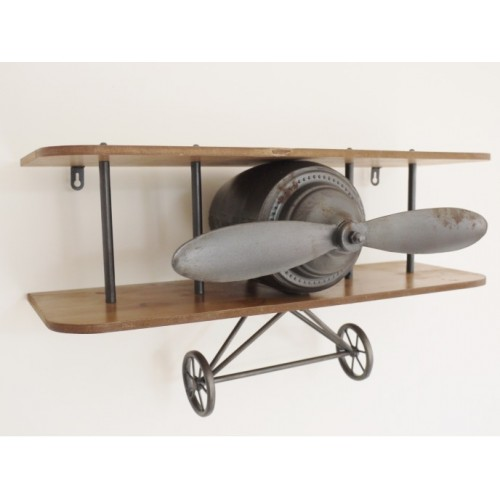 Retro Vintage Wooden & Metal Aeroplane Wall Shelf