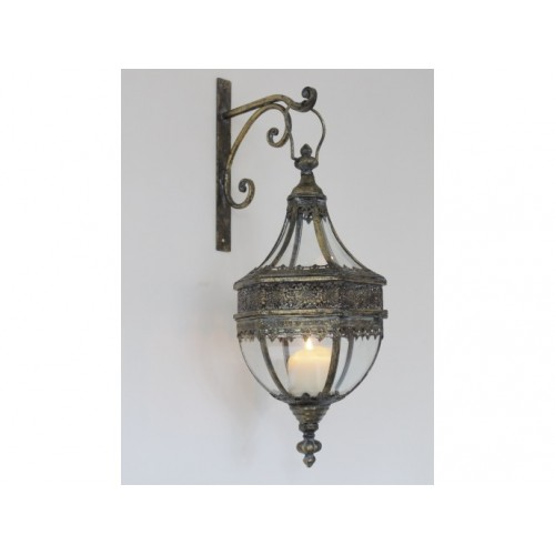 Antique Style Hanging Candle Lantern With Wall Bracket