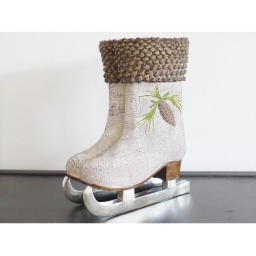 Shabby Chic Vintage Christmas Ice Skates Planter