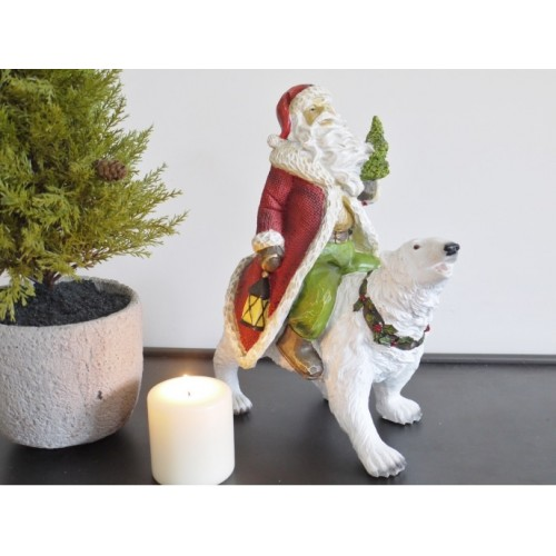 Festive Santa On Polar Bear Christmas Ornament
