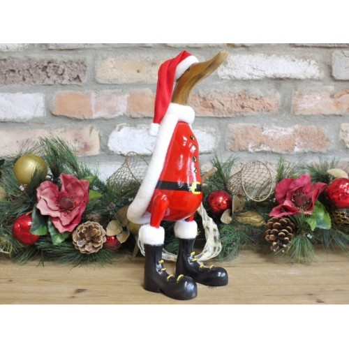 Christmas Duck Wearing Santa Costume Ornament