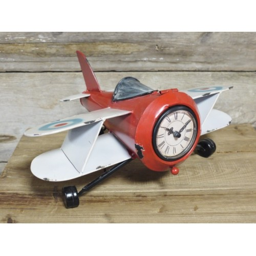 Vintage Style Distressed Red Aeroplane Desk Clock