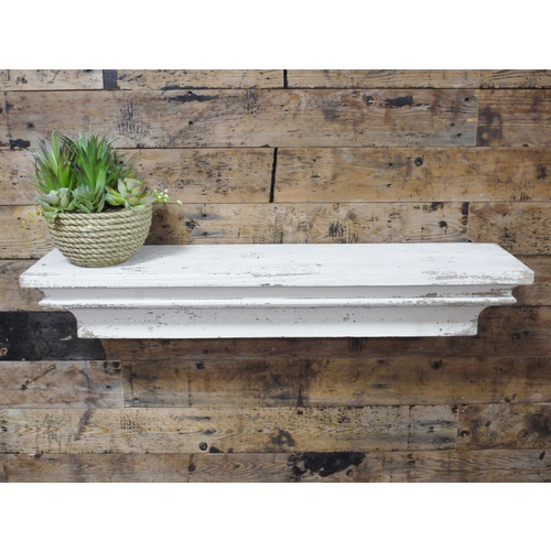 White Distressed Shabby Chic Wall Mounted Floating Shelf