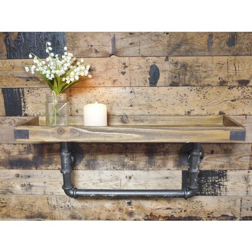 Urban Industrial Style Chunky Wood Iron Pipe Wall Shelf