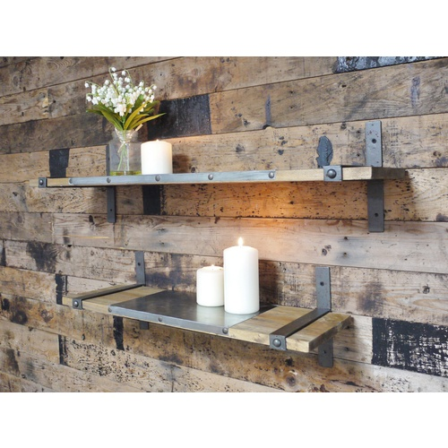 2 Rustic Wooden & Metal Shelves With Brackets