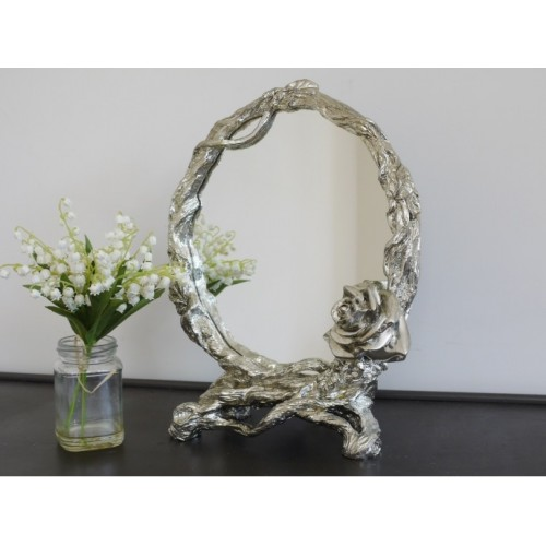 Small Silver Decorative Rose Dressing Table Mirror