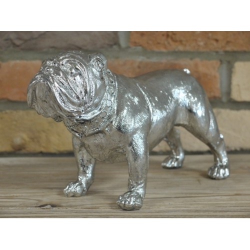 Free Standing Silver Bulldog Indoor Ornament