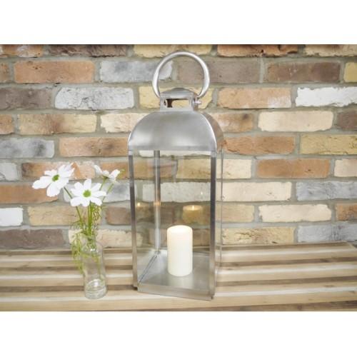 Large Silver Brushed Steel Garden Candle Holder