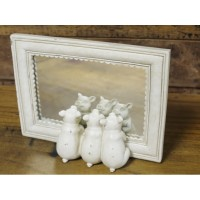 White Wooden Framed Three Little Pigs Mirror
