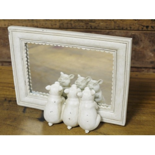 White Wooden Framed Three Little Pigs Mirror