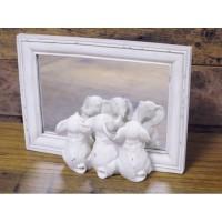 White Wooden Framed Three Little Elephants Mirror