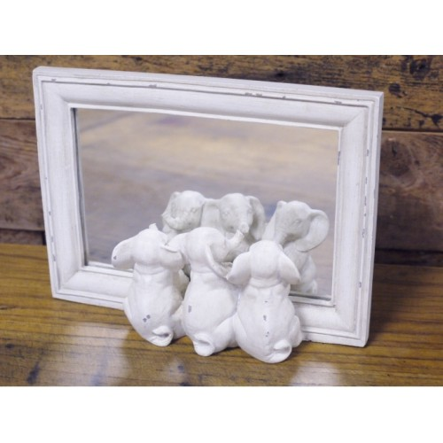 White Wooden Framed Three Little Elephants Mirror