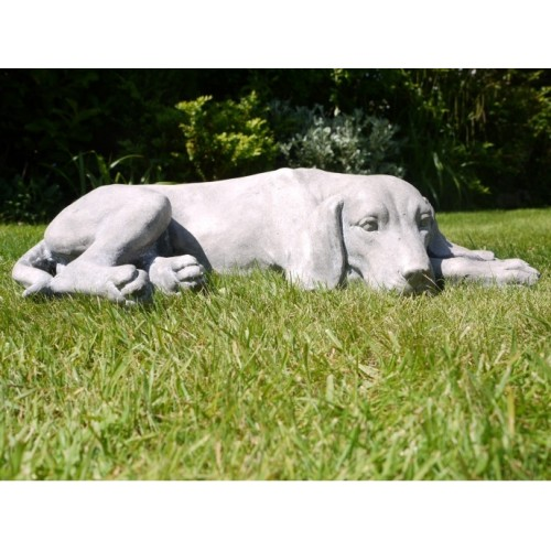 Grey Adorable Resin Laying Down Dog Garden Ornament