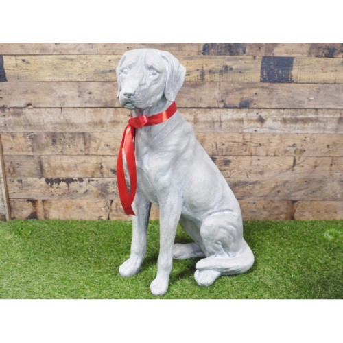 Large Grey Sitting Dog Outdoor Resin Ornament