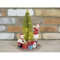 Two Children Decorating Christmas Tree Ornament