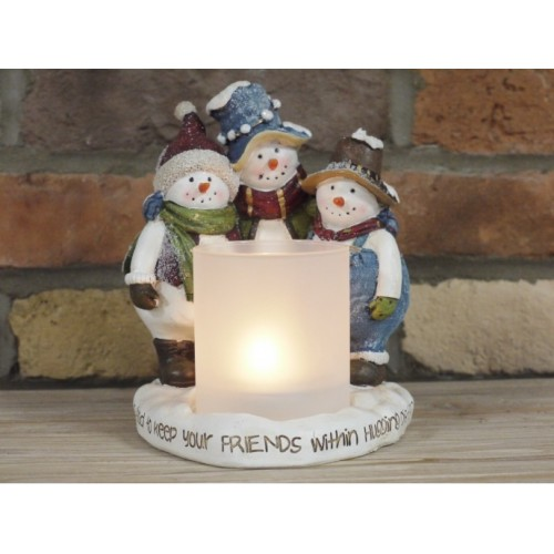 Christmas Three Snowmen Candle Holder