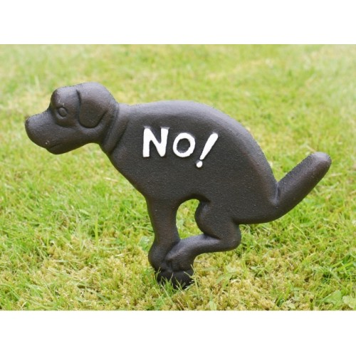 "Black Cast Iron Dog Ornamental ""No Fouling"" Stake Sign"