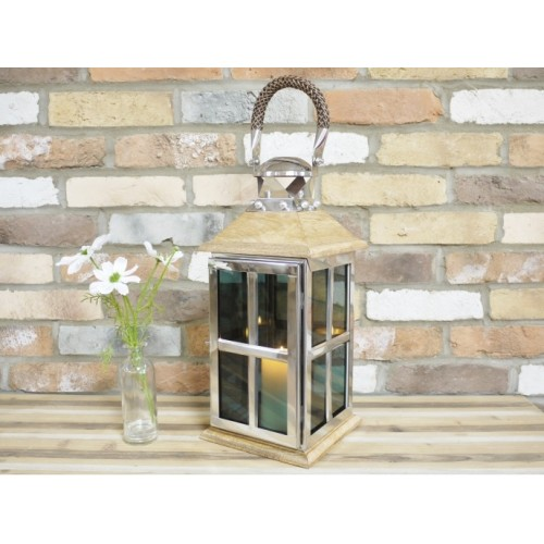 Large Handcrafted Wooden & Metal Candle Lantern
