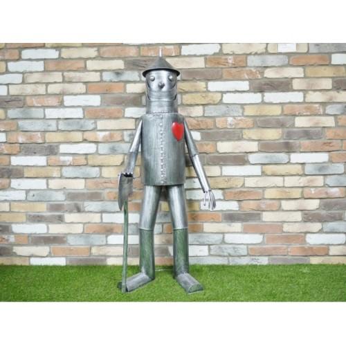 Large Silver Tin Man Outdoor Garden Statue 135cm