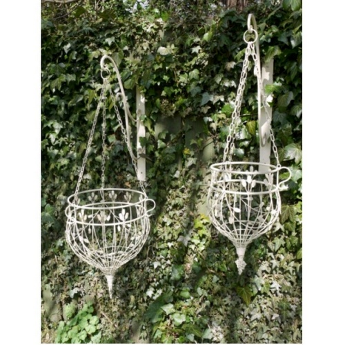 Pair of Two White Ornate Gothic Garden Hanging Baskets