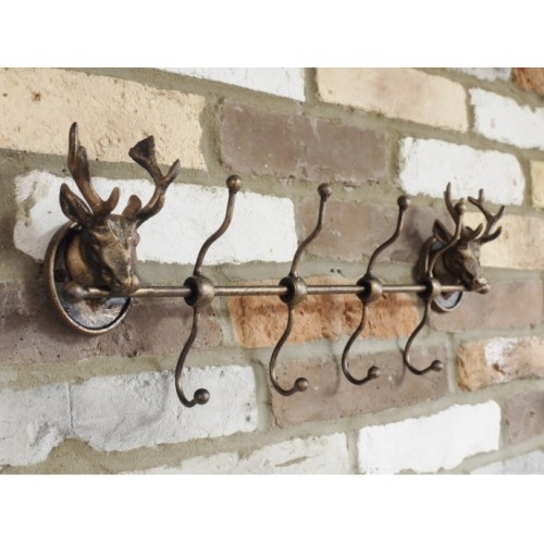 Wall Mounted Cast Iron Stag Head 8 Hooks