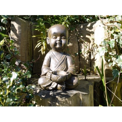 Young Baby Faced Monk Statue With Bowl